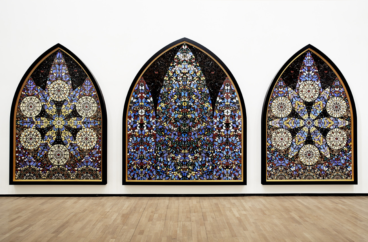Damien Hirst, Bringing Forth the Fruits of Righteousness from Darkness, 2008. Made of butterfly wings.