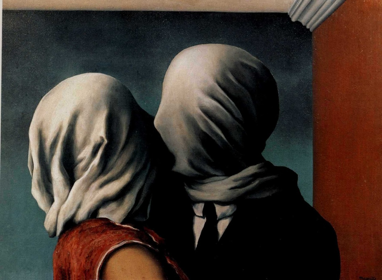 Rene Magritte ,  Lovers , Oil on canvas.