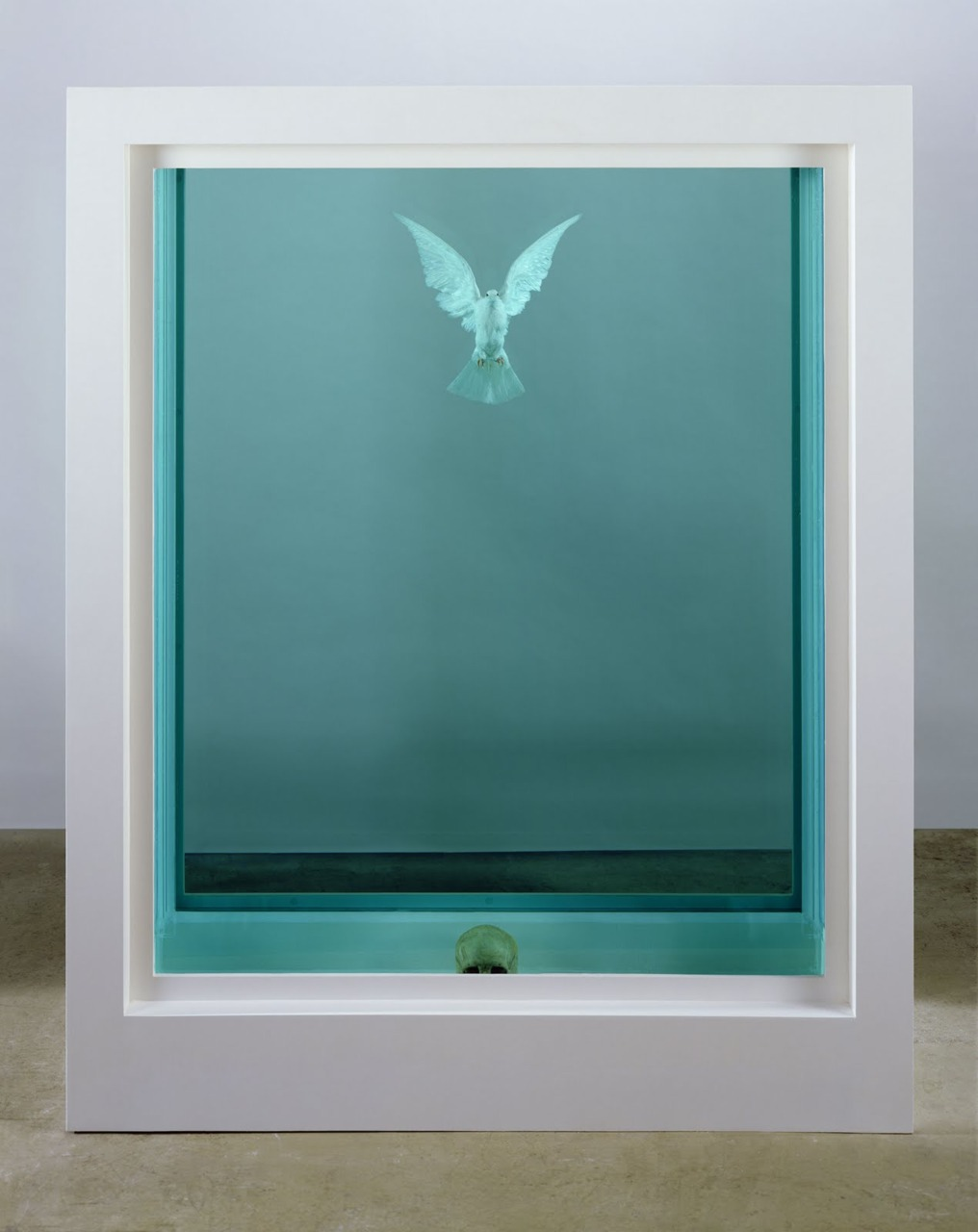 Damien Hirst ,  The inescapable Truth , Dove and Human skull in formaldehyde.