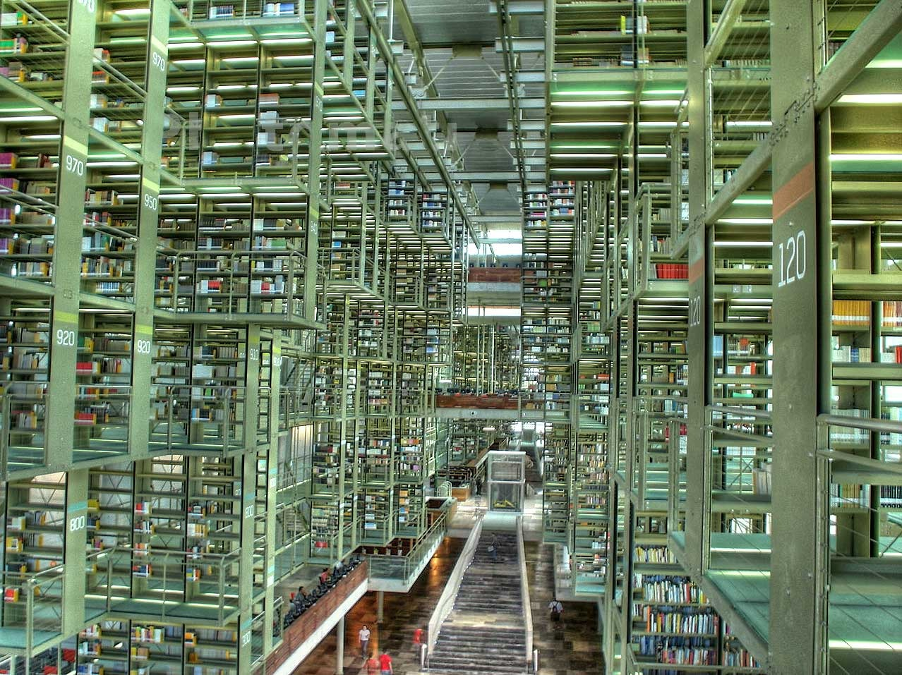 Another view of the Jose Vasconcelos Library in Mexico City. It is the only library in the world composed of hanging stands which are supported by its ceiling.