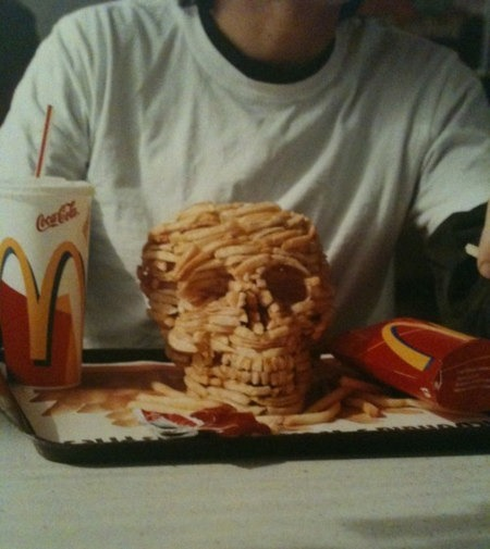 Skull Made Out of McDonald's French Fries