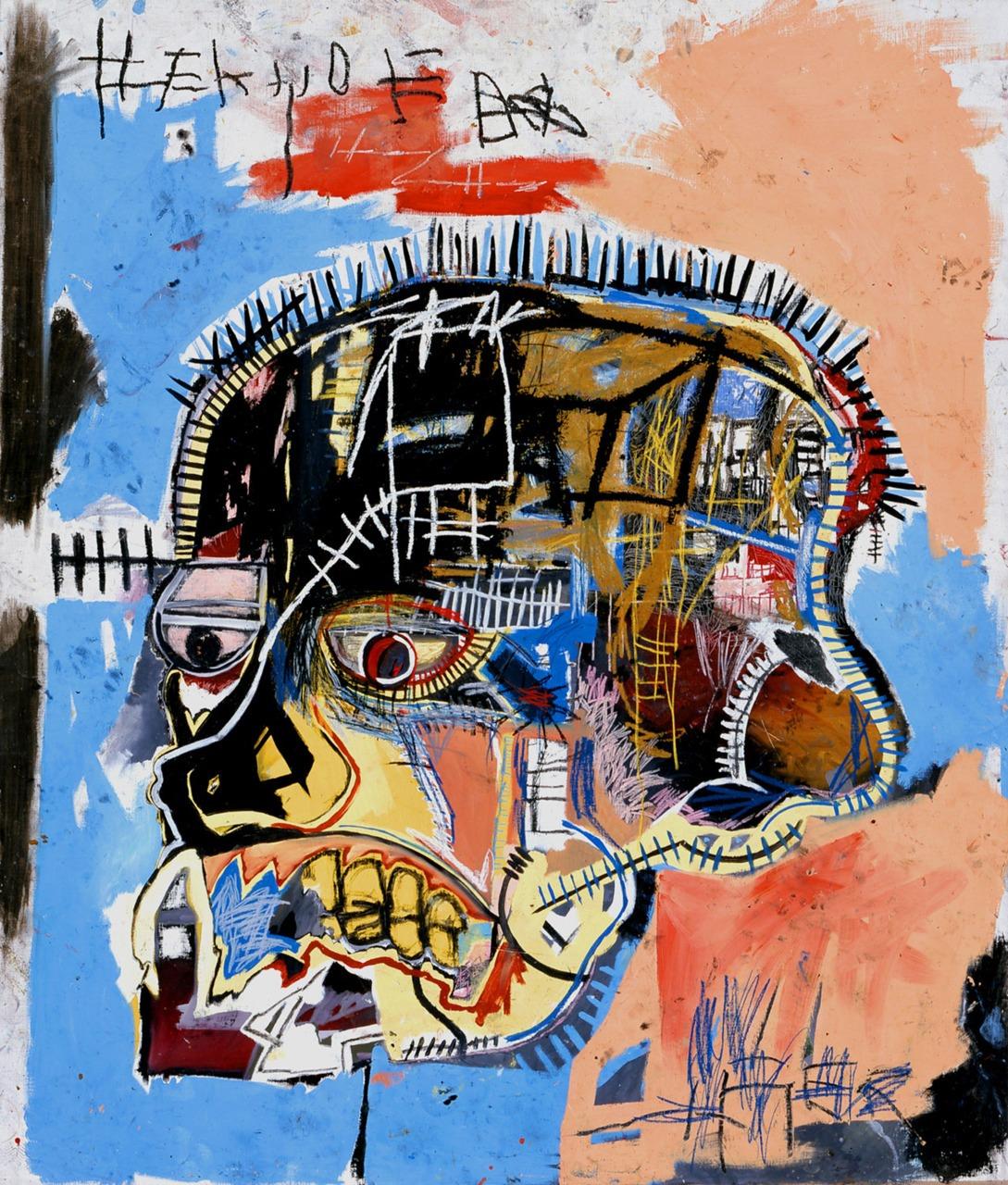 Jean Basquiat ,  untitled ( skull ),  oil on canvas.