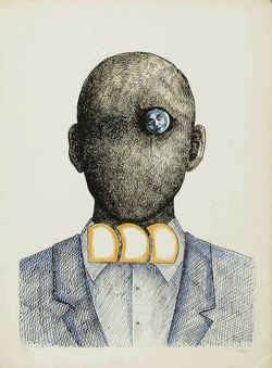 Roland Topor, Popiersie, color lithography