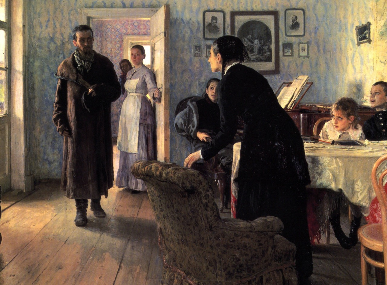 artandopinion :     Unexpected Visitors   circa 1886   Repin Ilya