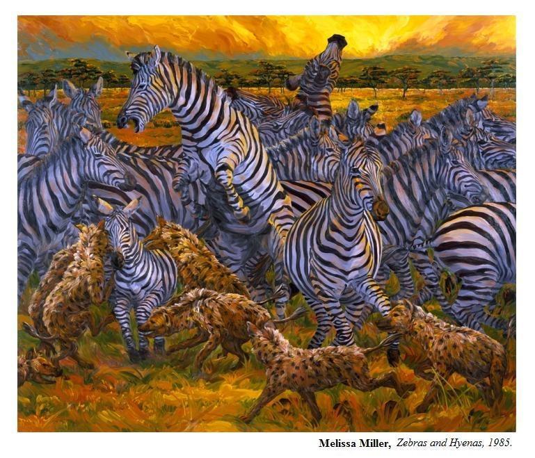 Melissa Miller , Zebras and Hyenas ,oil on linen 1985.   She was my professor.