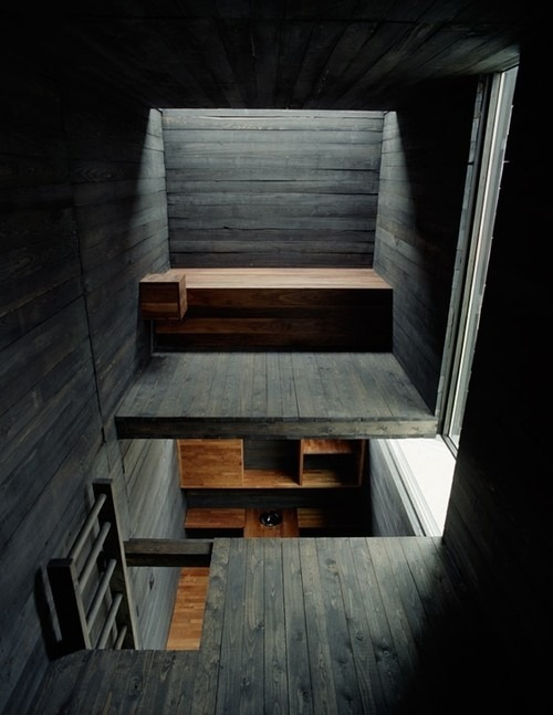 What a cool wood loft space.
