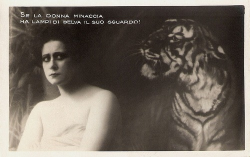 Lydia Johnson (by Truus, Bob & Jan too!) Italian postcard by G. Vettori, Bologna. Translation: When woman menaces, she has the lights of a wild animal in her eyes.