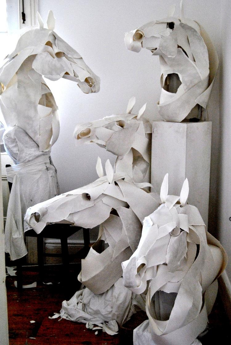 Anna-Wili Highfield  ( b.  1980,   Australia ) -  Horse Masks for Hermes . Cotton paper, ink, cotton thread, silk, copper pipe internals with hard hat, Approx. 100 x 110 x 100 cm (2011)