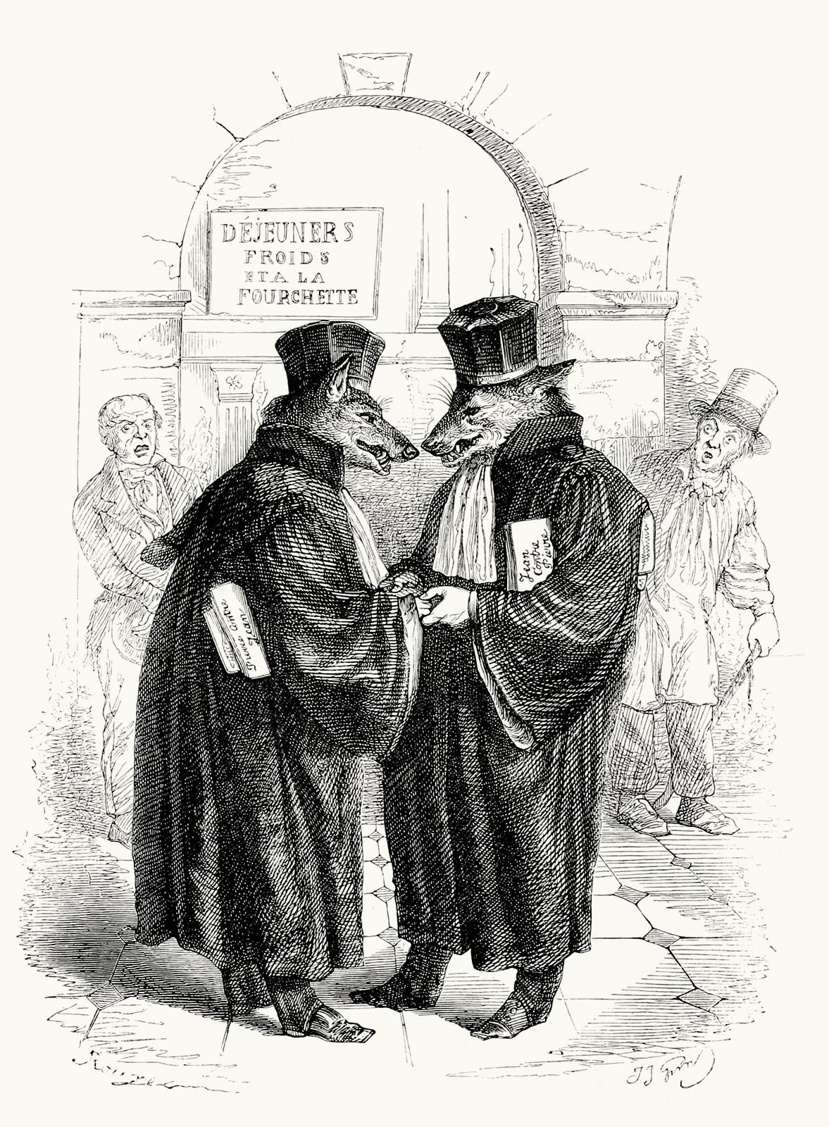 oldbookillustrations :      Les loups ne se mangent pas entre eux (There is honor among thieves).    Jean-Jacques Grandville, from  Cent proverbes (one hundred proverbs) , collective work, Paris, 1845.   (Source:  archive.org )            WebRep        currentVote         noRating   noWeight