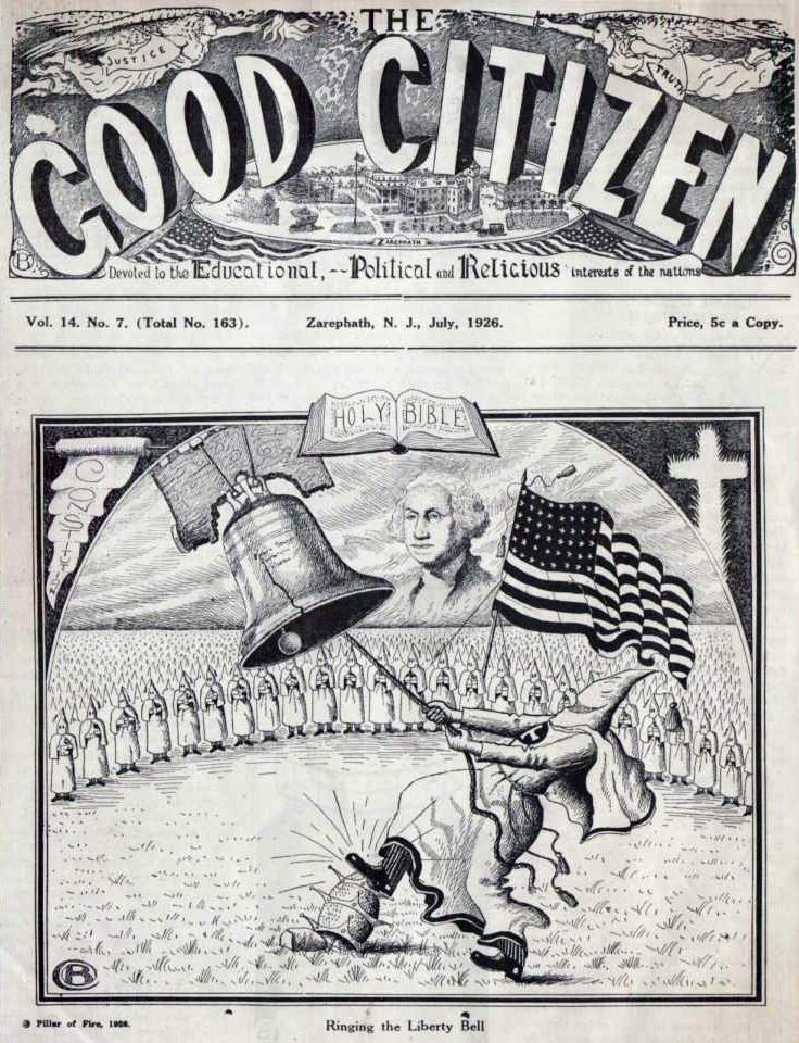 "In 1923 Alma White—editor of The Good Citizen—said the following:  ""The Klansmen stand for the supremacy of the white race, which is perfectly legitimate and in accordance with the teachings of the Holy Writ, and anything that has been decreed by the Almighty should not work a hardship on the colored race…It is within the rights of civilization for the white race to hold the supremacy; and no injustice to the colored man to stay in the environment where he was placed by the Creator.""  In 2012 Dan Cathy—president of Chick-fil-A —said the following:  ""We are very much supportive of the family – the biblical definition of the family unit. We are a family-owned business, a family-led business, and we are married to our first wives. We give God thanks for that. We intend to stay the course. We know that it might not be popular with everyone, but thank the Lord, we live in a country where we can share our values and operate on biblical principles"""
