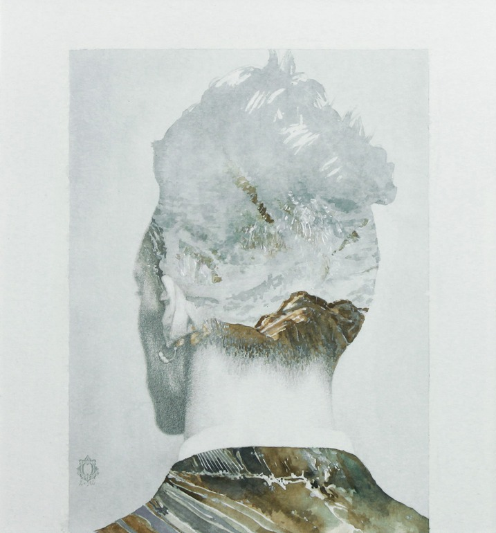 darksilenceinsuburbia :        Oriol Angrill Jordà  .  Man Back Mountain | blendscapes. Watercolor and graphite.