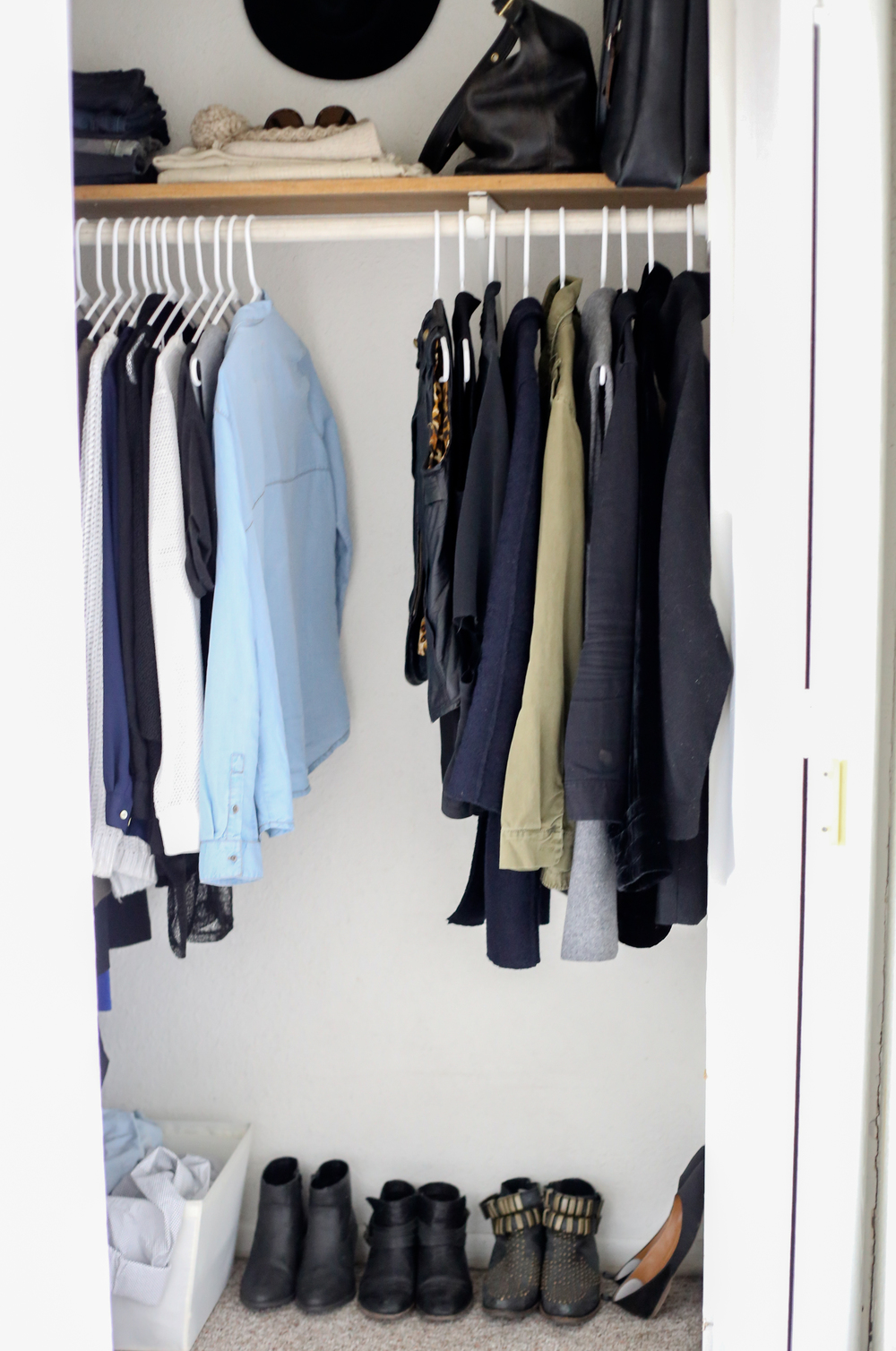 *For transparency's sake, here is my actual closet with my entire wardrobe excluding my personals and my hiking clothes which always stay in the car.