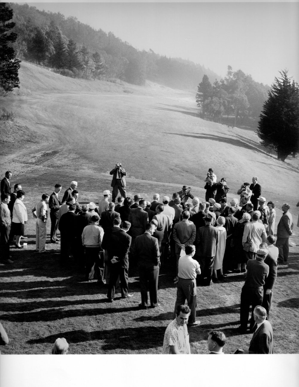 Opening day at McLaren Park Golf Course.  After decades of political hurdles the golf course opens with pomp and circumstance.  Mayor George Christopher and Recreation and Parks President Walter Haas preside at the first tee. February 1, 1962, photo by Doherty/S.F. Examiner