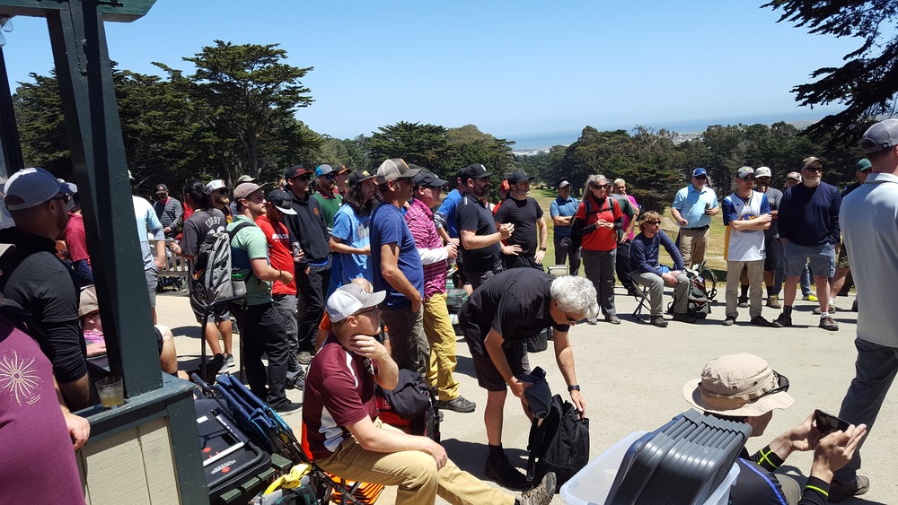 Members of San Francisco Disc Golf Club kicking off their first tournament in 2017 just after the installation of the course.
