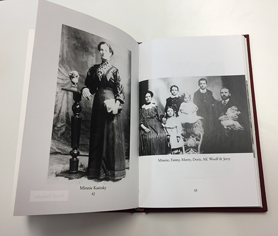 Pages from the book, showing Minnie, Woolf and their children
