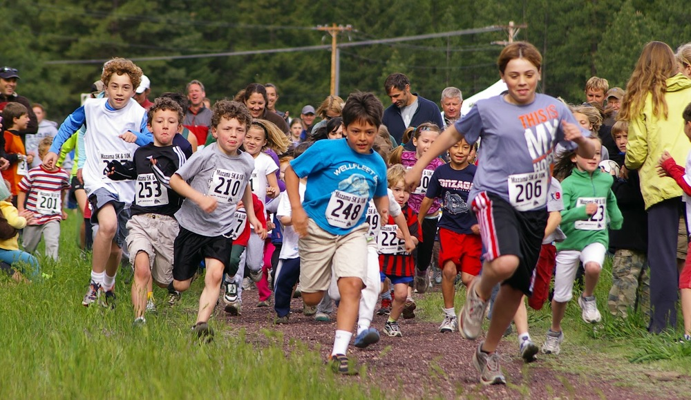 The always-eager start of the Mazama Kid's 1km Fun Run