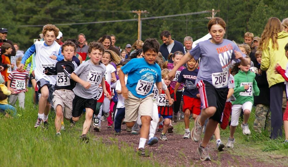 The always-eager start of the Mazama Kid's 1km Fun Run