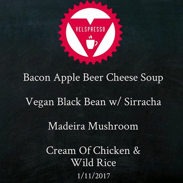 Today's #TheSoupMarket #soup menu @ #VelspressoCafeMKE - Yum! #Bacon + #Beer in a soup + #grilledcheese = #MKE heaven!  #Bakery #Coffee #Food #Milwaukee #PedalCarts #Paninis #Soups #SoupToGo #TroubadourBakery #StoneCreekCoffee #Bikes #Bicycling #Cyclists #Cycling