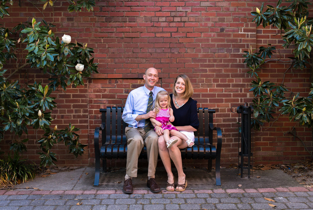 Here's a family picture near our worship site in The Alley in downtown Aiken.