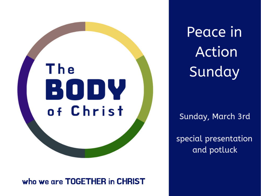 There will be a special presentation after worship followed by a potluck!
