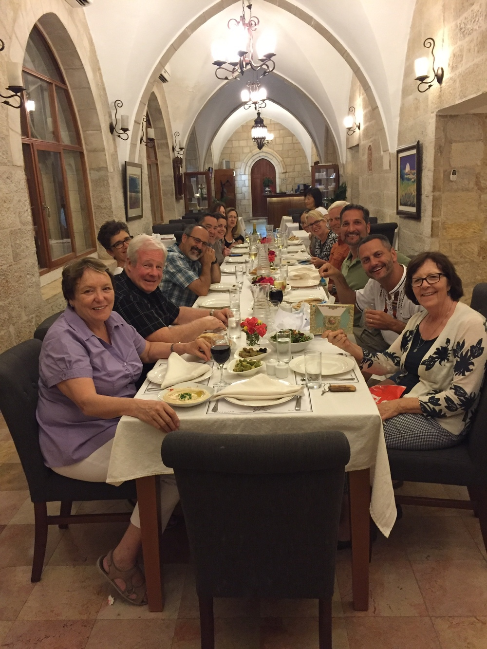 Day 11: Benedictine vespers at Abu Gosh (possible site of Emmaus) and last dinner at St. George's
