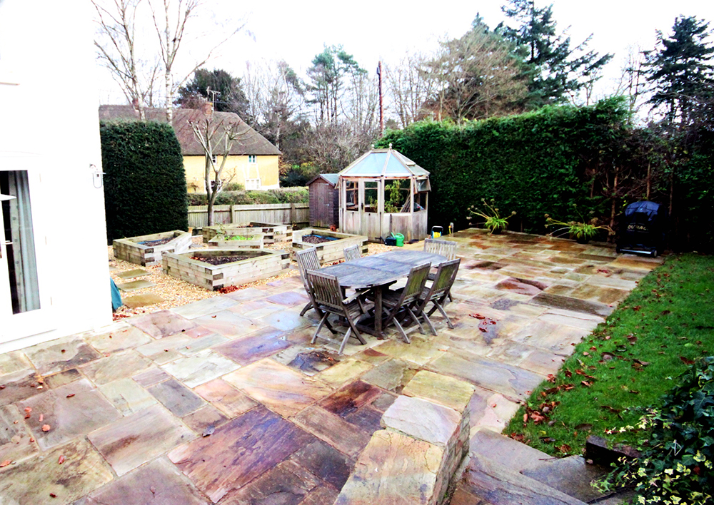 Large sandstone patio