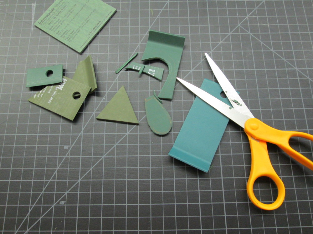 Extra rubber wall base samples are easy to cut and stamp with