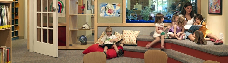 Story time in children's library at  Beacon Hill Nursery School