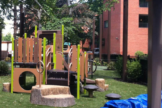 Nature inspired metal & plastic climbing structure at Harvard Business School Soldier's Field Park Children's Center