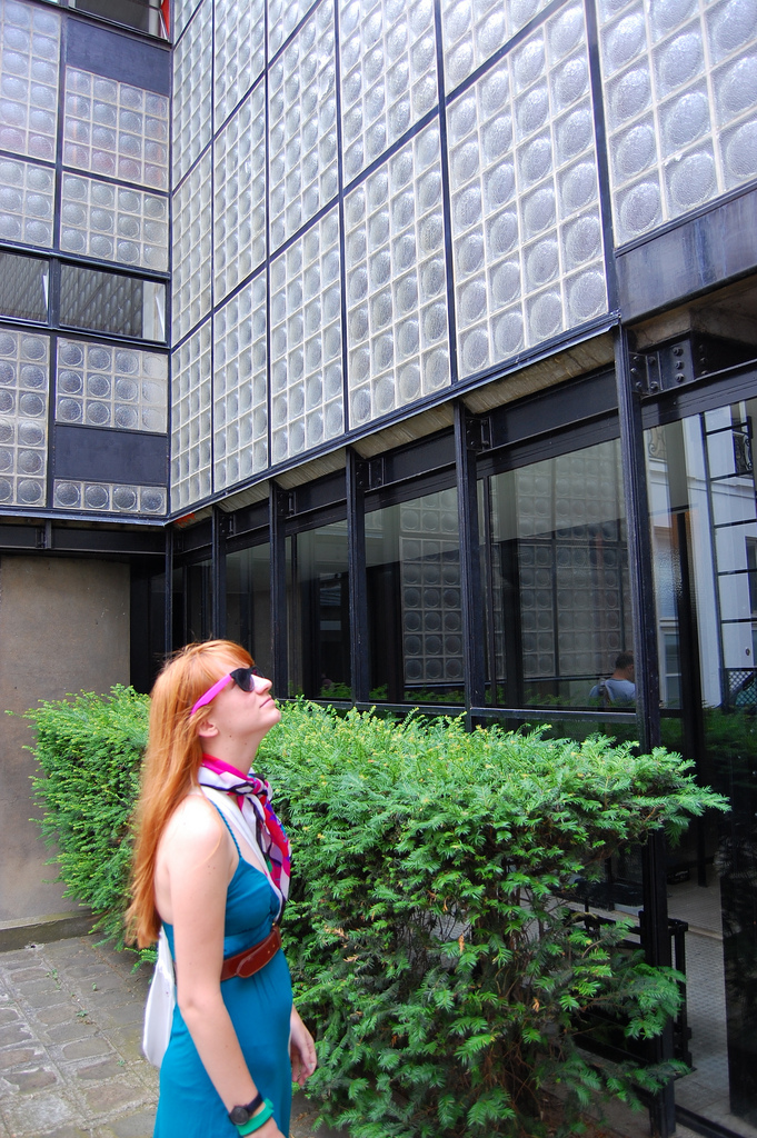 Maison de Verre's entrance and the post's author, back when she thought orange hair was cool.