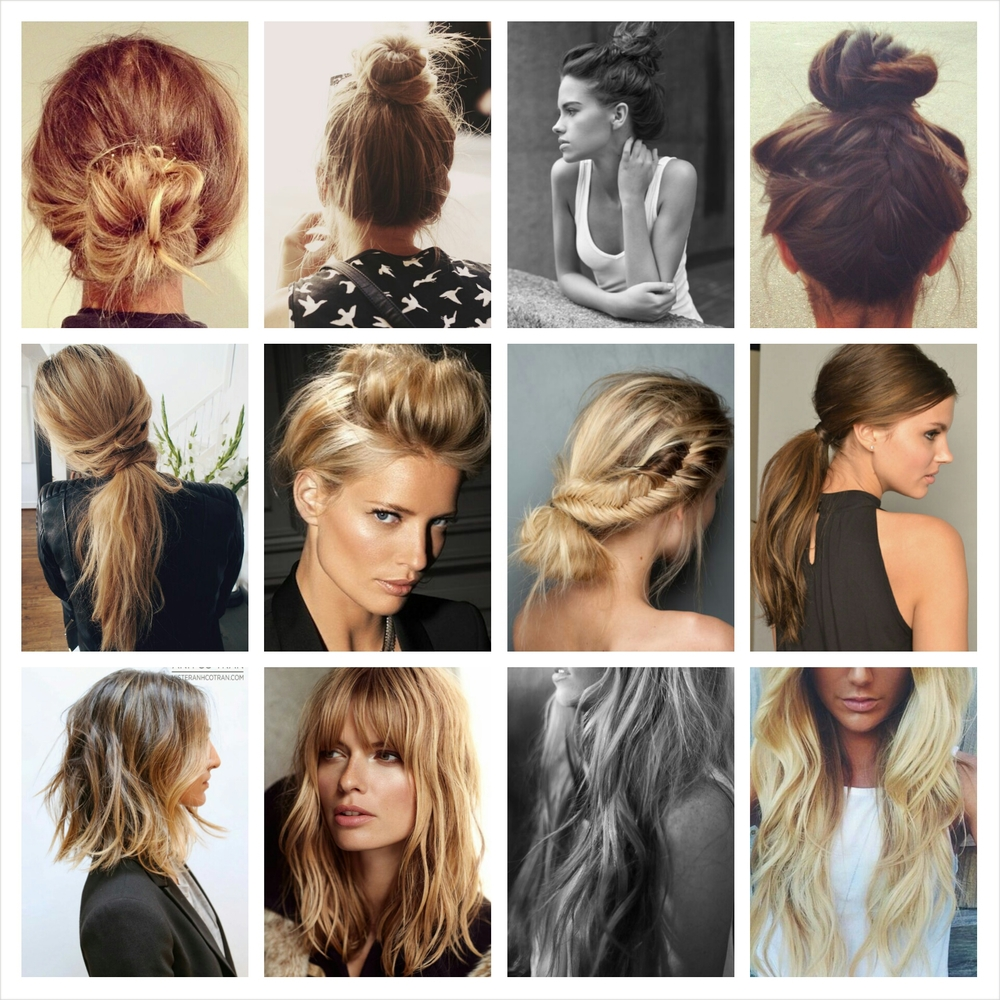 "(ALL IMAGES VIA PINTEREST)   HAIR   Top row: The off duty ballerina…..this works great for a Monday at the office.  Middle: Low pony tail, ""the bump"", and messy braids…..all good for a night out on the town.  Bottom row: Loose waves……this is my everyday go to!  Also I am loving the shoulder length cut, it is just so chic (and something I may have to do).  Although I was a hair stylist for years (and at times still claim to be), I still love simple and easy styles for my hair.  I don't think I have met a woman who wouldn't agree!  I think many women over think hair styling.  They look at a picture and instantly think ""I can't do that"", well I say, ""why not!""  It's just like any trend, you have to make it your own, find different ways to wear your part, curl, or just go all natural."