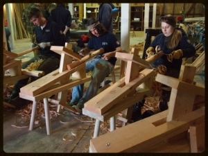 Washington Conservation Corps using shave horses in Green Woodworking
