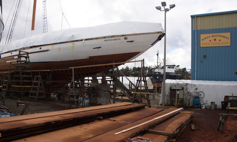 replanking an historic schooner in boathaven shipyard