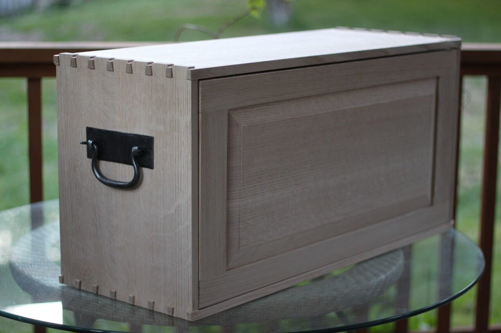 Oak chest front view by Anne Briggs