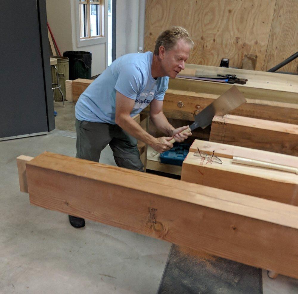 Scott Cronk sawing a tenon