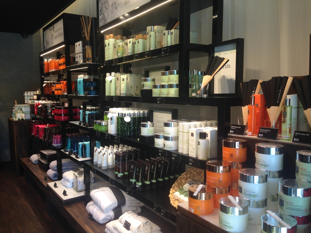 Bath and body product wall