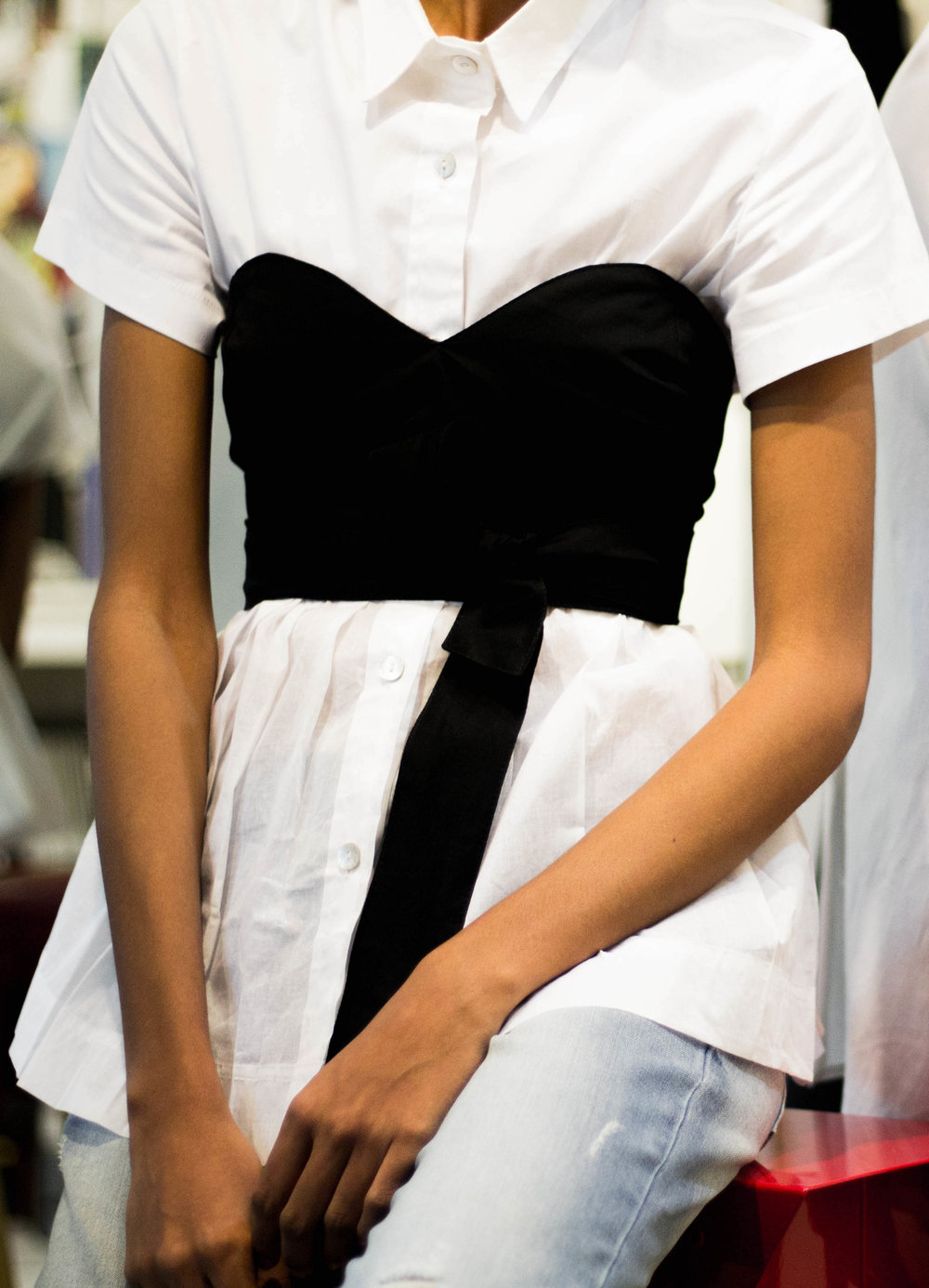 Pleated Peplum White Shirt (Back to Back)