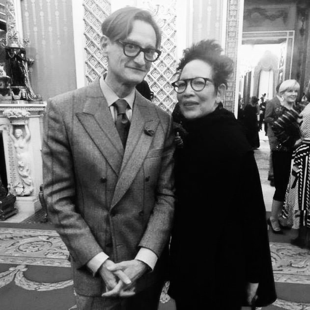 February 2018  What an unbelievable experience being part of the Commonwealth Fashion Exchange. Photos were not permitted of the exhibits however here I am with  Hamish Bowles  international editor at large for Vogue who curated the exhibition which was magical. All of the fashion world were there Anna Wintour, Suzy Menkes, Edward Enninful and many more. The work of the other participants was incredible. Thank you  Eco Age , MATCHESFASHION and the  Commonwealth Fashion Council .  -M.