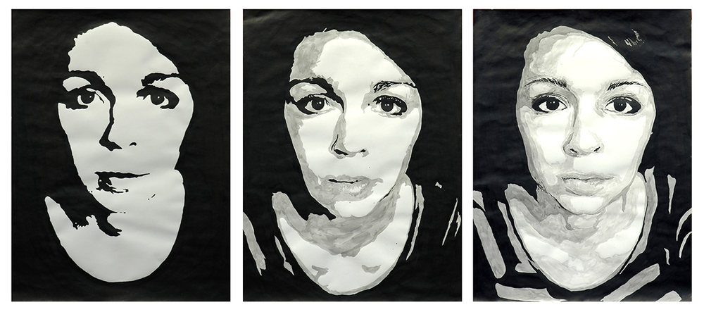 "Drawing 1 // Self-Portraits // ink wash on paper // 24""x54"""