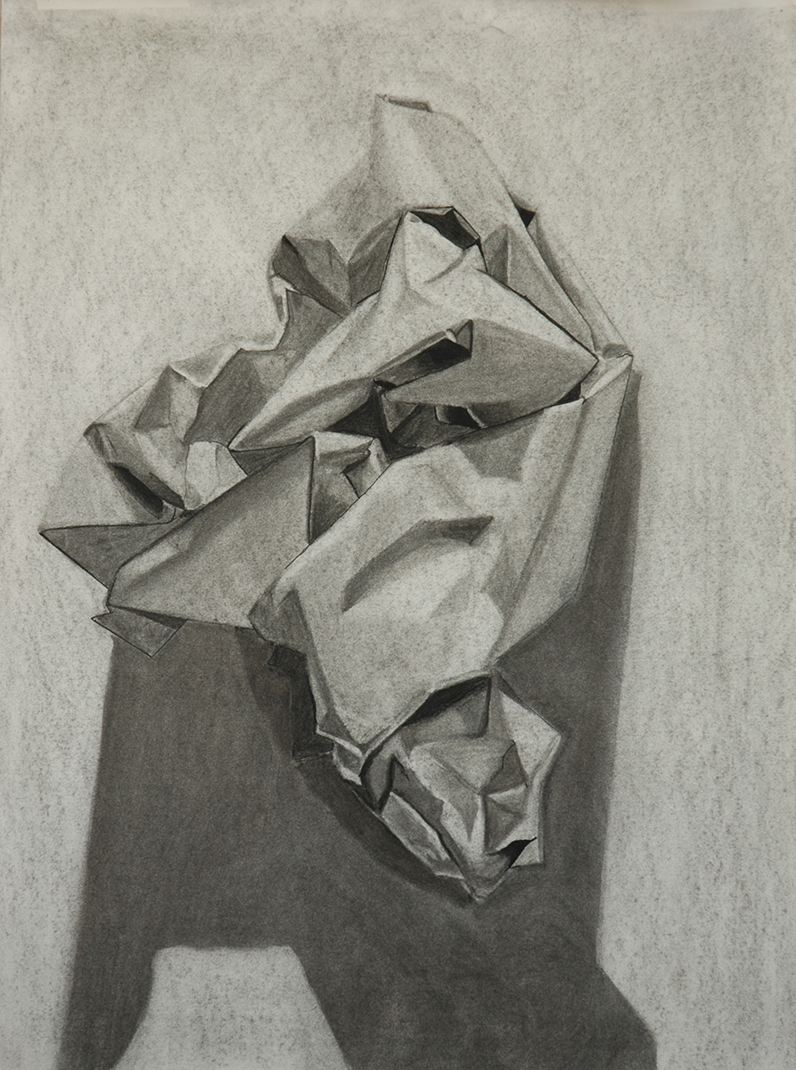 "Drawing 1 // In-Class Still Life // charcoal on paper // 24""x18"""