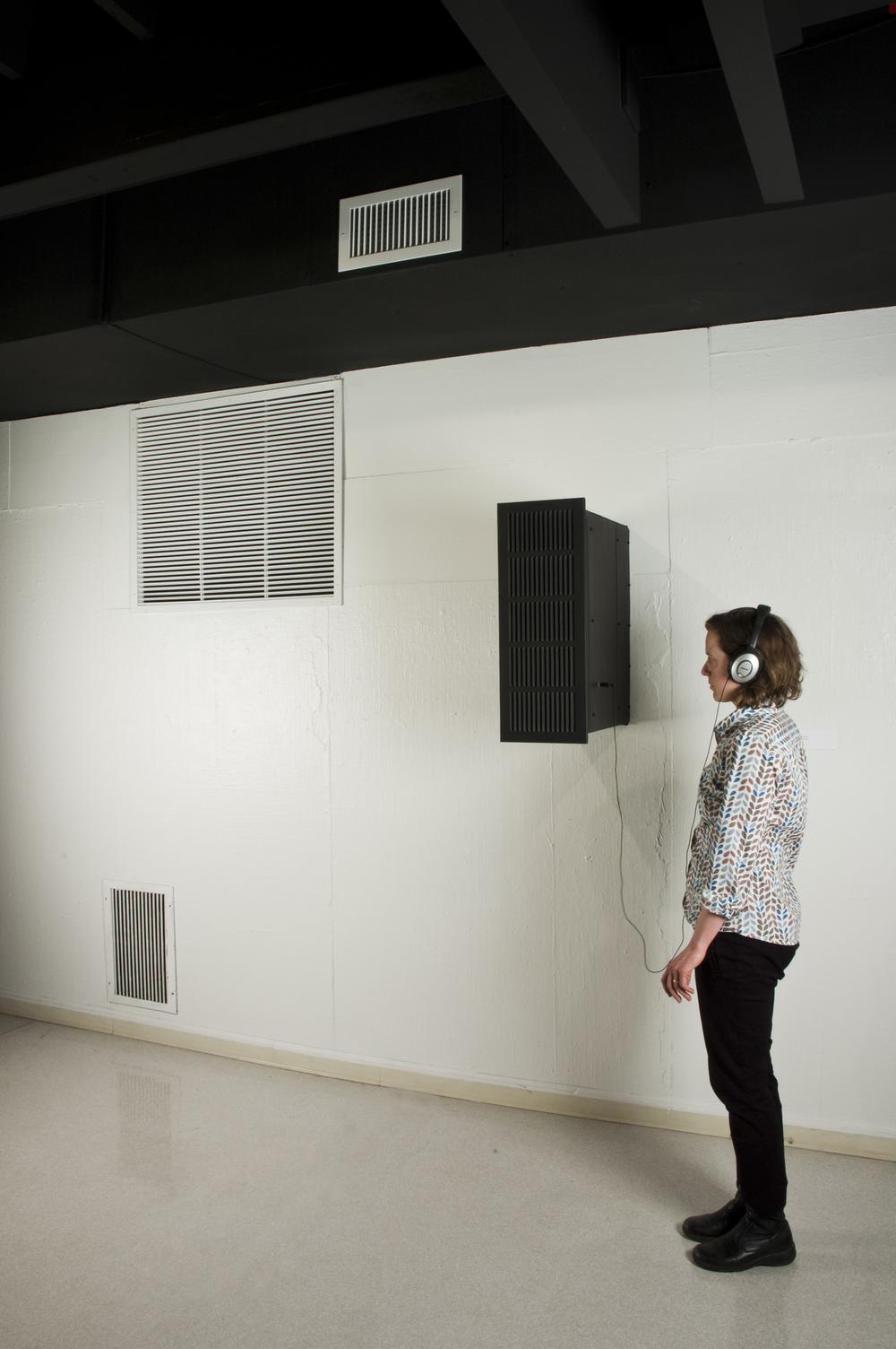 """Through the Wall   2011  tin, audio  8"""" x 24"""" x 24"""""""