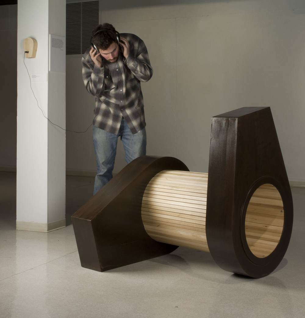 "Tow the Line   2011  steel, poplar, audio  36"" x 36"" x 36"""