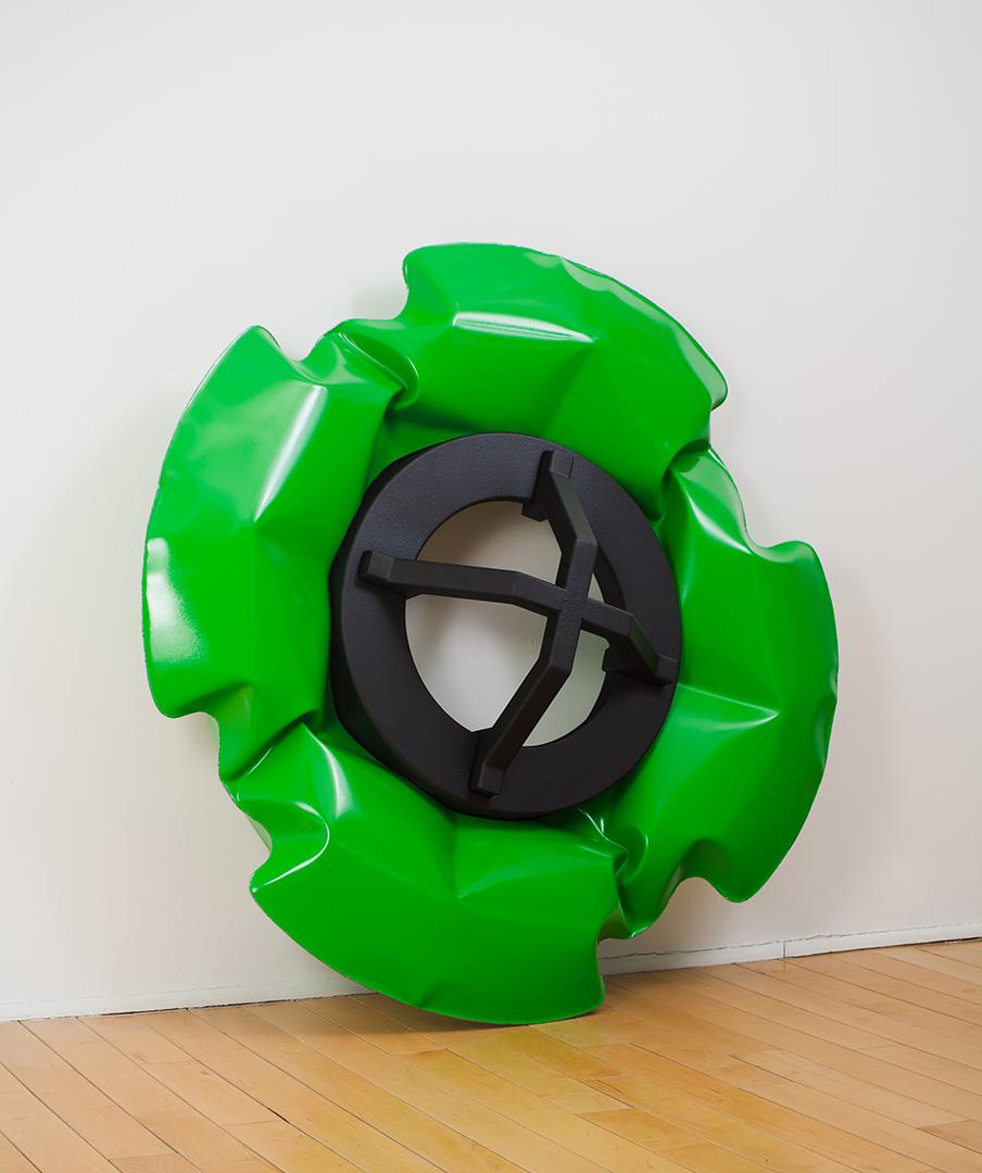 """Hub   2014  polychrome inflated steel, MDF, rubber spray  46"""" x 46"""" x 12"""""""