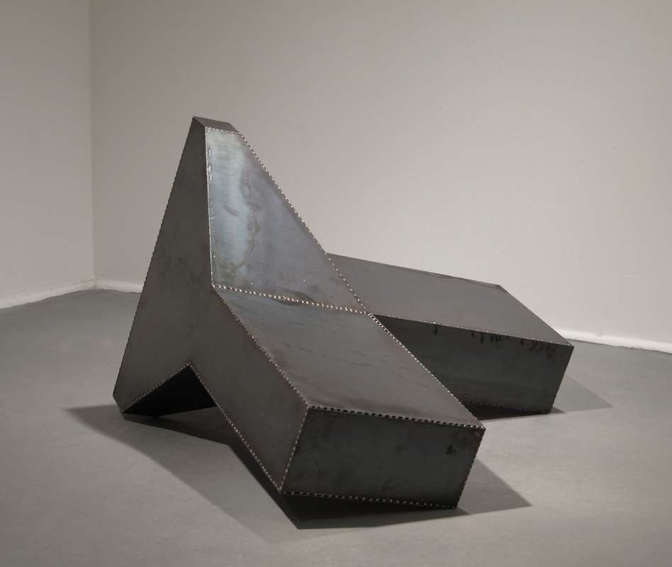 "UNTITLED: DOLOSE   2011 STEEL  18""x 36""x 36"""