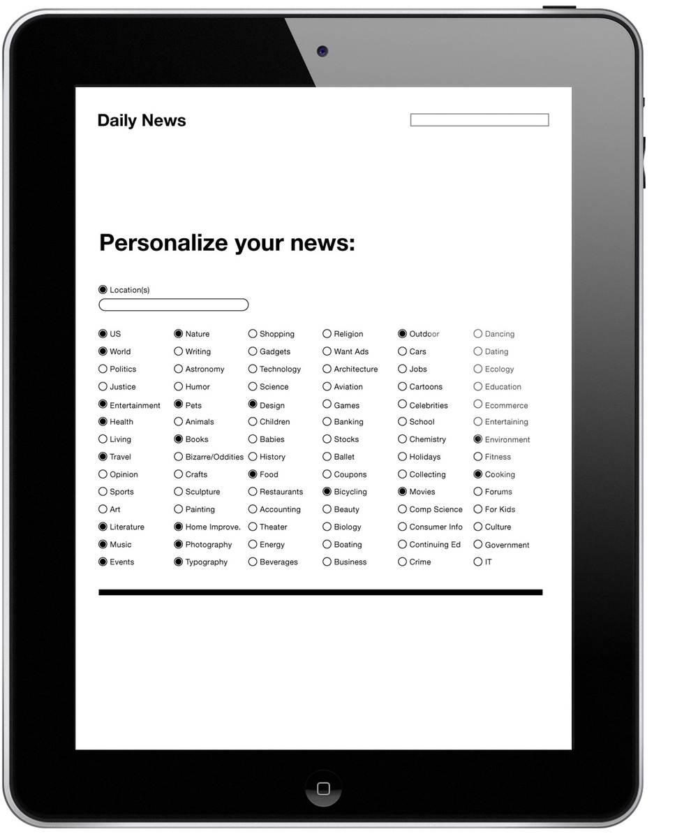 April 21: This simple news site would allow you to select your interests, further personalizing it to your liking.