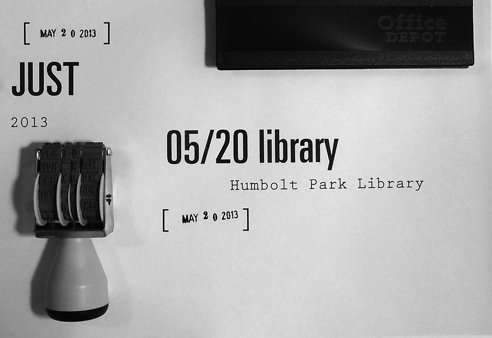 May 20:   I've always had my eye on the librarian's date stamp. Today I bought my own.