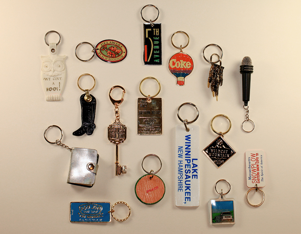 May 25:   Borrowing Lisa Congdon's Collection a Day idea, I plan to shoot some of my own this weekend. Shown here is a very small sample of my keychain collection: favorites and best design/typography.