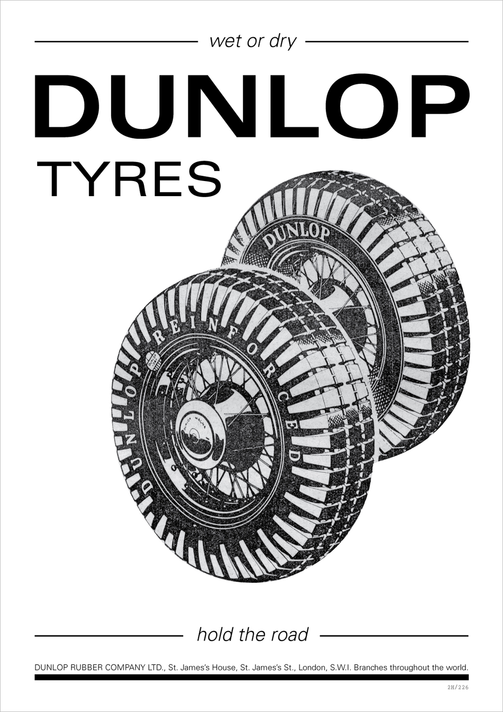July 30: I really like the original Dunlop Tyres ad, but the type hierarchy and font choice weren't quite working for me, so I decided to rework it.