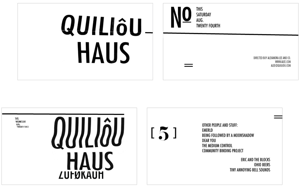 August 24: Some business cards using elements from the poster design.