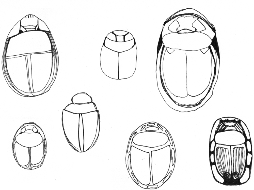 October 7:   I thought I would like the simplicity of these scarabs more than yesterday's somewhat realistic beetles, but I thought wrong.